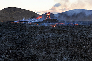 Lava field with the two craters of the Fagradalsfjall volcano, Iceland, 4 April 2021.