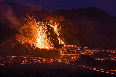 Two craters of the Fagradalsfjall volcano, long exposure around sunset, Iceland, 1 April 2021.