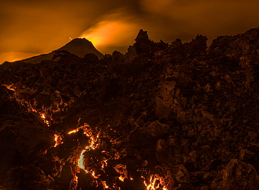 Glowing lava after sunset, Fagradalsfjall volcano, Iceland, 1 April 2021