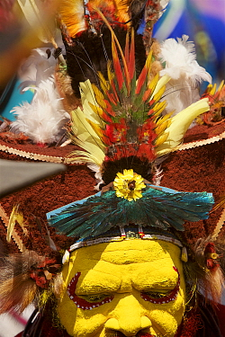 Huli 'singsing' dance ceremony. Huli wigmen wearing human hair wigs and feathers of various birds of paradise and other bird species. Tari Valley, Southern Highlands Province, Papua New Guinea. Novemb...