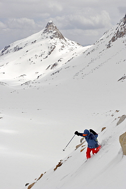 Skier Phil Atkinson skiing down slopes of the upper Sky Top Lakes Valley, near Granite Peak, Beartooth Mountains, Montana, USA. May 2008