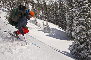 Skier Phil Atkinson makes a ski descent with full pack near Inpasse Falls and Duggan Lake, Beartooth Mountains, Montana, USA. May 2008