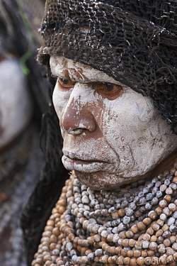 Villager in traditional costume at ceremony, Mount Hagen, Western Highlands Province, Papua New Guinea. September 2004