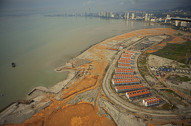 Aerial view of the waterfront of Georgetown, Penang, Malaysia and new coastal development. Georgetown, Pulau Pinang, Malaysia. May 2006