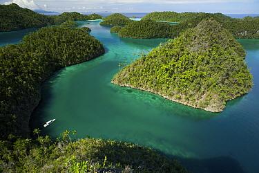 View of Wayag Islands, an uninhabited group of uplifted limestone (karst) islands, NW of Waigeo Island. West Papua, Indonesia, April 2007