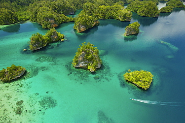Limestone Islands of Kabui Bay, near the East end of the Passage between Gam and Waigeo. Waigeo Island at top, with local boat heading for the Passage. Raja Ampat Islands, West Papua, Indonesia. Octob...