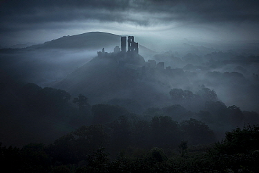 Corfe Castle at dawn, Isle of Purbeck, Dorset, England, UK. September 2013