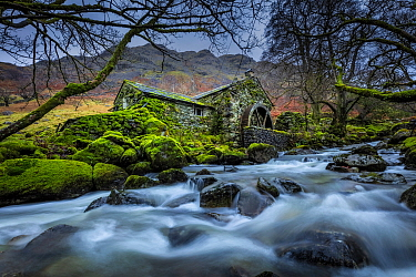 Dissused water mill, Borrowdale, Lake District National Park, Cumbria, England, UK. December 2020