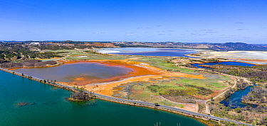 Aerial view of Rio Tinto and Gossan lake reservoir, Huelva, Andalucia, Spain, June 2019.