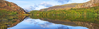 Reflections in Llyn Dinas on a still morning in the Nant Gwynant valley near Beddgelert, Snowdonia, North Wales, UK October2018