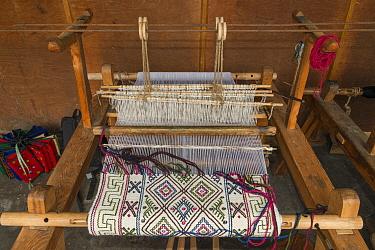 Yatra woven wool cloth, Bumthang. Yathra Weaving Center. Bhutan. September 2013.