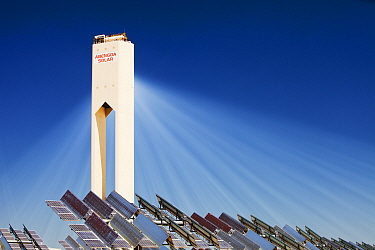 The PS20 solar thermal tower - part of the Solucar solar complex owned by Abengoa energy, in Sanlucar La Mayor, Andalucia, Spain. The site has solar tower, parabolic trough and photovoltaic solar tech...