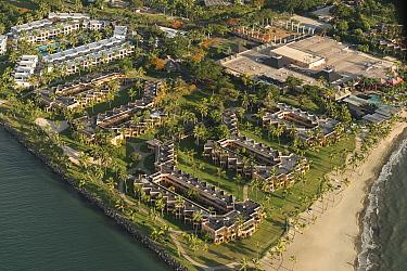 Aerial of Port Denarau Island Resort, Viti Levu, Fiji. December 2013.