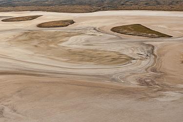Aerial of Tirari Desert claypans or dry lakes. Tirari Desert is the smallest desert in the outback. South Australia, June 2011