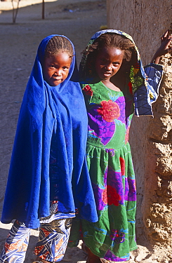 Young girls posing for picture in Sigadine (a Toubou village), Niger, 2005.