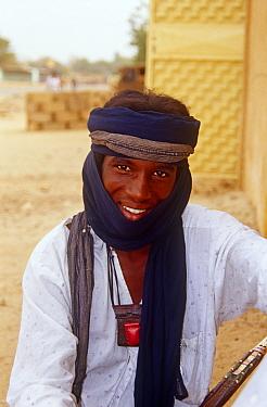 Portrait of Peul / Fula herdsman visiting the capital Niamey, Niger, 2004.