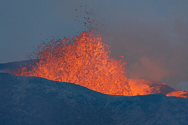 Close up of active volcano erupting and lava flow from crater. The volcano has been dormant for 6000 years. Fagradalsfjall Volcano, Iceland, Europe, 5 June 2021.