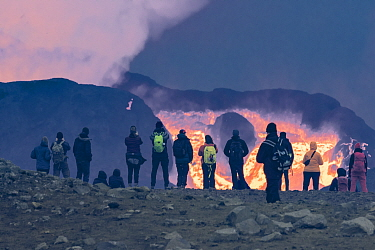 Group of people viewing volcanic eruption in crater. The volcano has been dormant for 6000 years, Fagradalsfjall Volcano, Iceland, Europe, 7 June-2021.