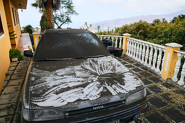 Car covered with volcanic ash during the eruption of Cumbre Vieja volcano, La Palma Island, Canary Islands, Spain, September 2021.
