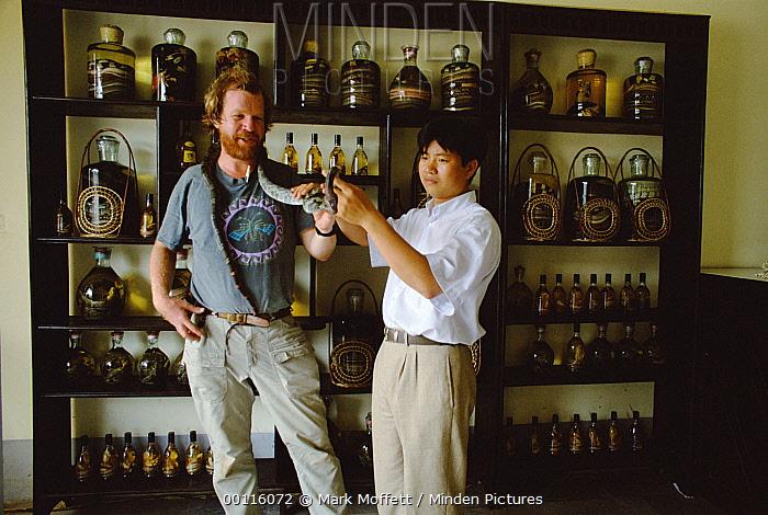 Mark Moffett and store proprietor with live snake in specialty store selling snake wine, Hanoi, Vietnam  -  Mark Moffett
