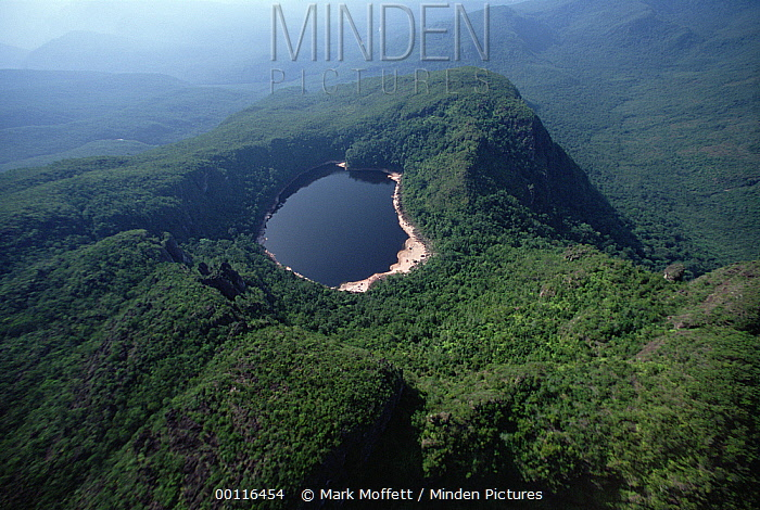 Aerial view of eroded Tepui with Lake Leopoldo at its summit, Venezuela  -  Mark Moffett