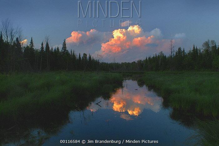 Sunset over Mystery Creek, Northwoods, Minnesota  -  Jim Brandenburg