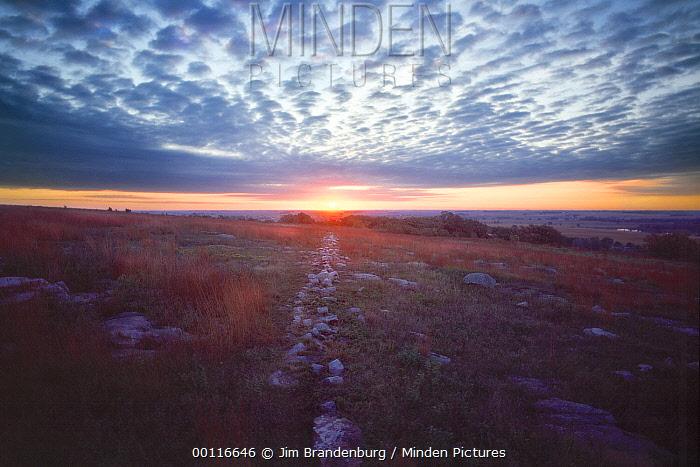Stone fence at sunrise, Blue Mounds State Park, Minnesota  -  Jim Brandenburg