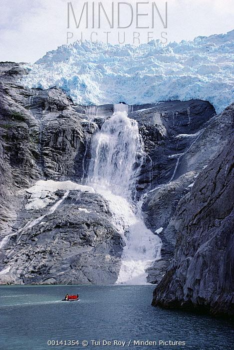 Tourists cruising Beagle Channel beneath Romanche Glacier, Patagonia, Chile  -  Tui De Roy