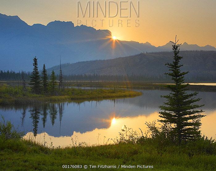 Sunset over Miette Range and Talbot Lake, Jasper National Park, Alberta, Canada  -  Tim Fitzharris