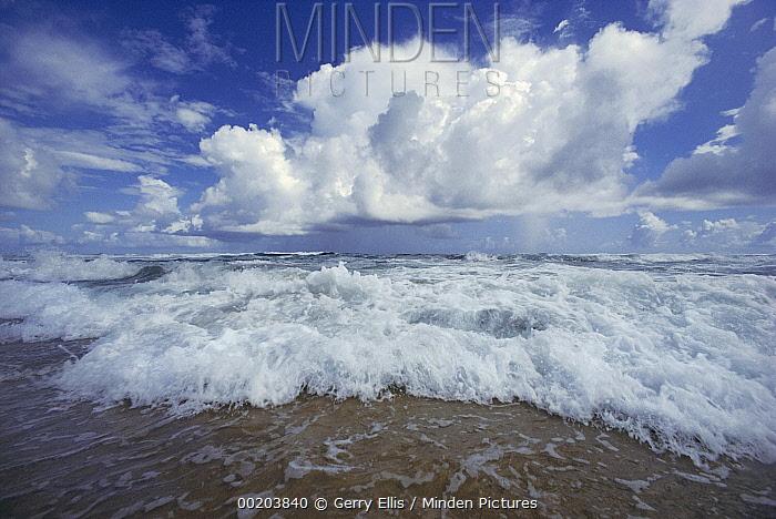 Cloudy skies over crashing waves, Bathsheba Beach, windward coast of Barbados, Caribbean