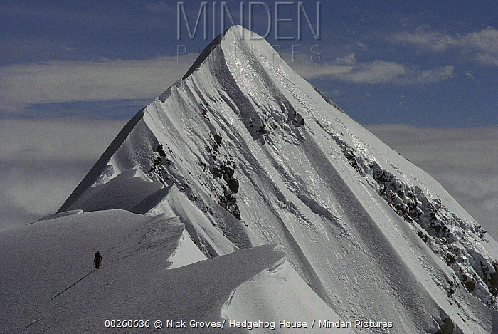 Climber soloing the summit of Mount Cook, Grand Traverse, Mount Cook National Park, New Zealand  -  Nick Groves/ Hedgehog House