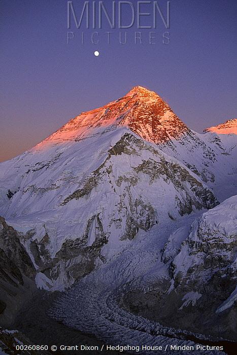 Moon over summit of Mount Everest and Khumbu Glacier, Sagarmatha National Park, Nepal  -  Grant Dixon/ Hedgehog House