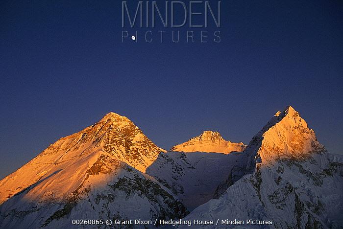 Moon over summit of Mount Everest, Lhotse, and Nuptse as seen from Mount Pumori at sunset, Sagarmatha National Park, Nepal  -  Grant Dixon/ Hedgehog House