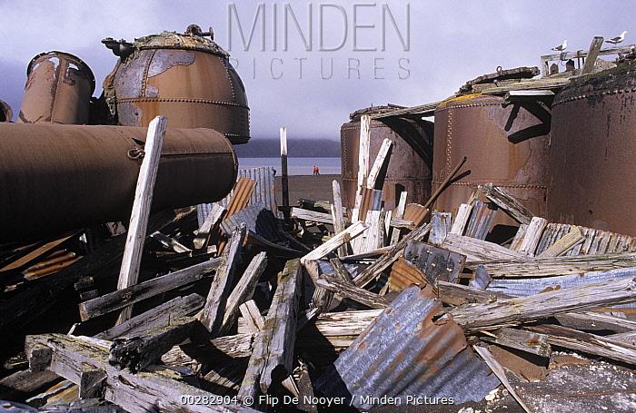 Debris at abandoned whaling station, Whaler's Bay, Deception Island, South Shetland Islands  -  Flip de Nooyer