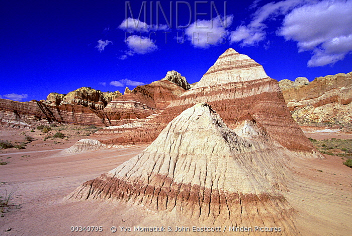 Chinle formation showing clearly defined layers of sandstone, Grand Staircase-Escalante National Monument, Utah  -  Yva Momatiuk & John Eastcott