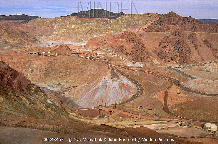 Open pit copper mine, considered the safest, Phelps Dodge Morenci mine, Morenci mining district, southern Arizona  -  Yva Momatiuk & John Eastcott