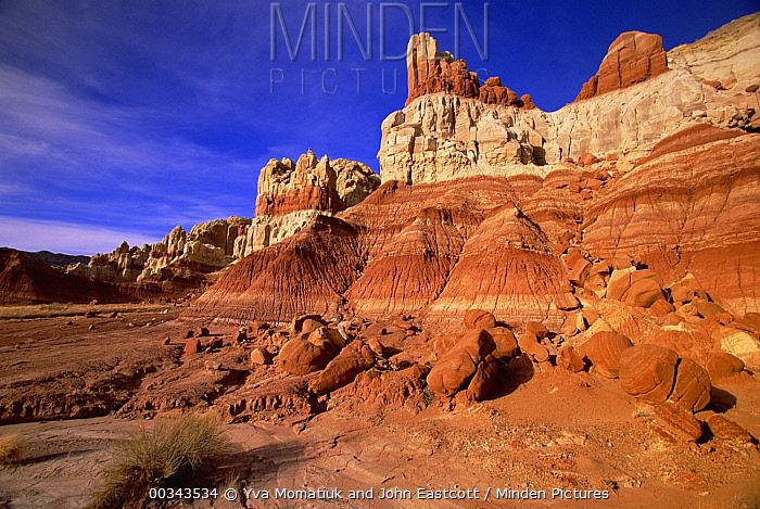 Sandstone buttes, eroded slopes, boulders, spring, Grand Staircase-Escalante National Monument, southern Utah  -  Yva Momatiuk & John Eastcott