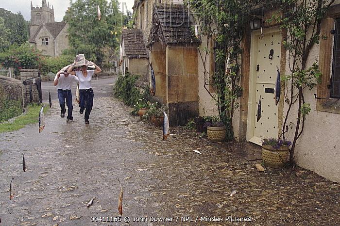 Raining fish (simulation) for BBC TV series 'Supernatural'  -  John Downer/ npl