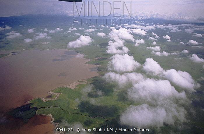 Ngorongoro Crater from the air, Tanzania  -  Anup Shah/ npl