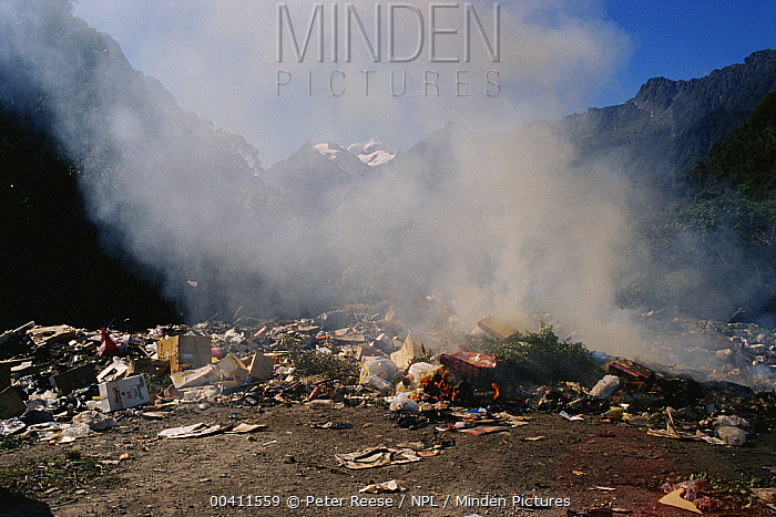 Smouldering rubbish at dump Near Fox Glacier South Island, New Zealand  -  Peter Reese/ npl