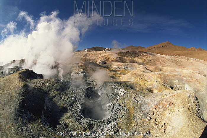 Geysers and boiling mud, Sol de Manana geyser field, Andes, Bolivia  -  Doug Allan/ npl