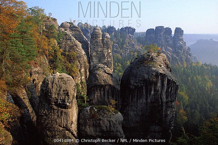 Rocky landscape in autumn, Elbsandsteingebirge, Saxony, Germany  -  Christoph Becker/ npl