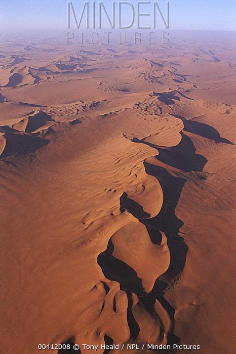 Aerial view of sand dune landscape, Namib-Naukluft Park, Namibia  -  Tony Heald/ npl