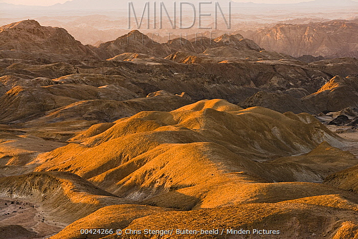 Badlands in the Namib Desert, near Swakopmund at sunrise, Namibia  -  Chris Stenger/ Buiten-beeld