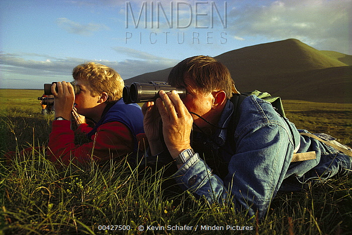 Birdwatchers, Foula Island, Scotland  -  Kevin Schafer