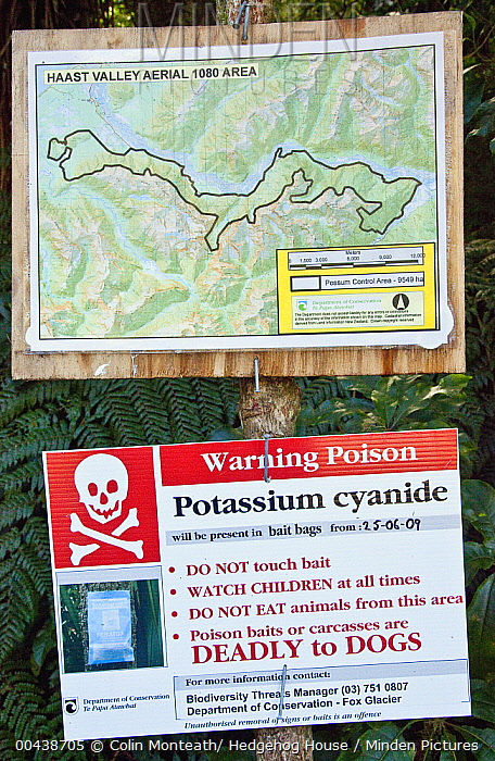 Warning sign of cyanide bait drop to kill introduced Common Brush-tailed Possum (Trichosurus vulpecula), Haast Pass, New Zealand  -  Colin Monteath/ Hedgehog House