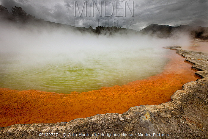 Rain storm approaches Champagne Pool, volcanic lake has constant 74 degree Celsius water including minerals gold, silver mercury, sulphur, and arsenic, Wai-O-Tapu Thermal Wonderland, Rotorua, North Island, New Zealand  -  Colin Monteath/ Hedgehog House