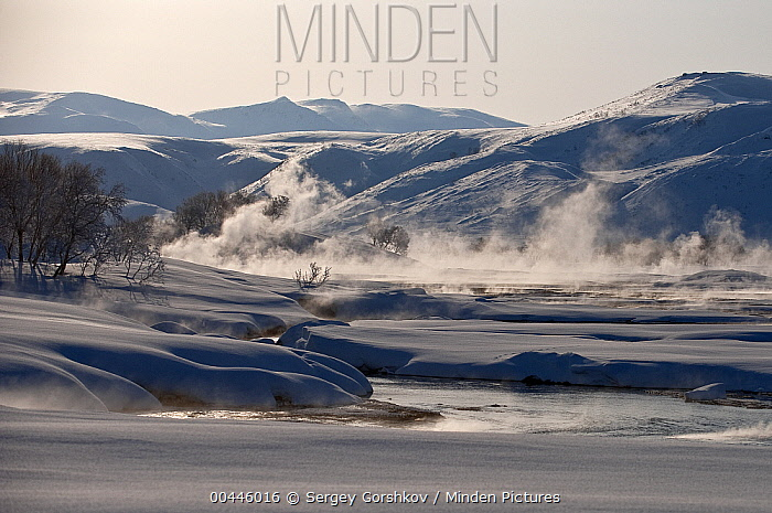 Steam coming off river in winter, Kamchatka, Russia  -  Sergey Gorshkov