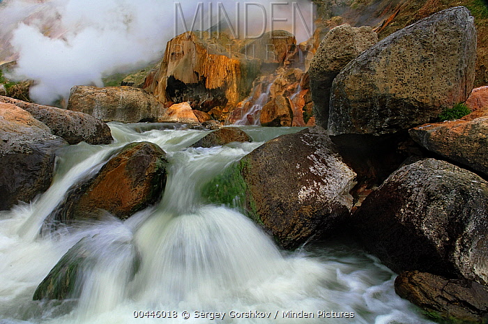 Geyser River and geysers in background, Valley of Geysers, Kamchatka, Russia  -  Sergey Gorshkov