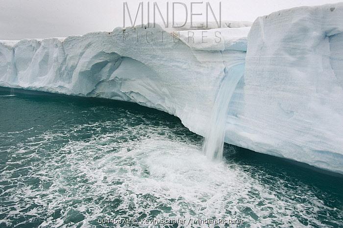 Waterfall from face of Austfonna Glacier, Nordaustlandet, Svalbard, Norway  -  Kevin Schafer
